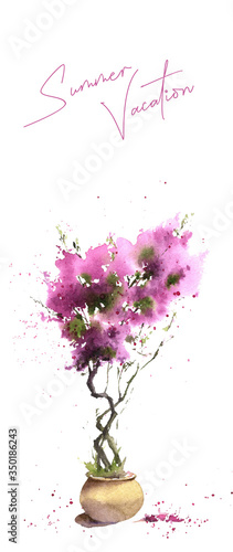 Canvas Print Premade card with the picture of the bougainvillaea in a flowerpot hand drawn in watercolor and lettering Summer Vacation isolated on a white background