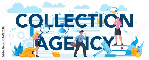 Fotografia Debt collection agency typographic header concept