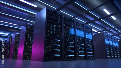 Cuadros en Lienzo Working Data Center Full of Rack Servers and Supercomputers, Modern Telecommunications, Artificial Intelligence, Supercomputer Technology Concept