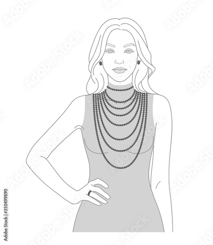 Fotografie, Obraz Necklace size chart with a silhouette of a woman