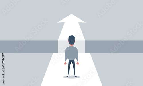 Foto Business challenge and solution vector concept with businessman standing over big gap