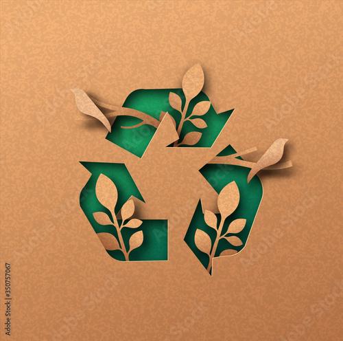 Fotografia Green recycle icon eco papercut nature concept