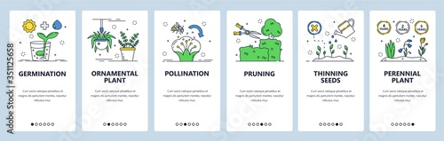 Fotografie, Obraz Flower gardening website and mobile app onboarding screens vector template