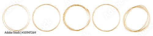 Fotografering set of gold round frame on white background