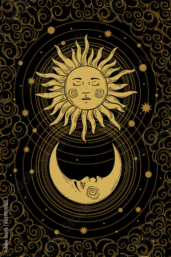 Leinwand Poster Divine golden crescent moon pattern with face, sun and clouds on a black background