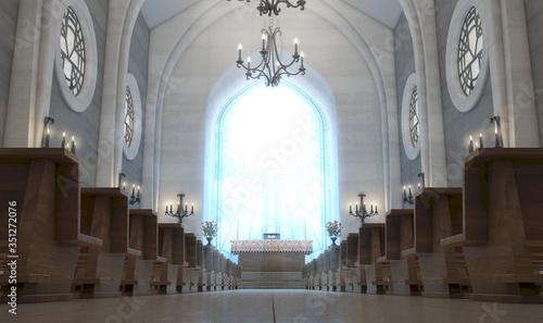 Canvas Print Church Interior And Altar