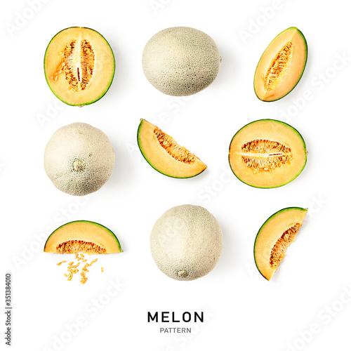 Fotografia Melon cantaloupe collection and creative pattern
