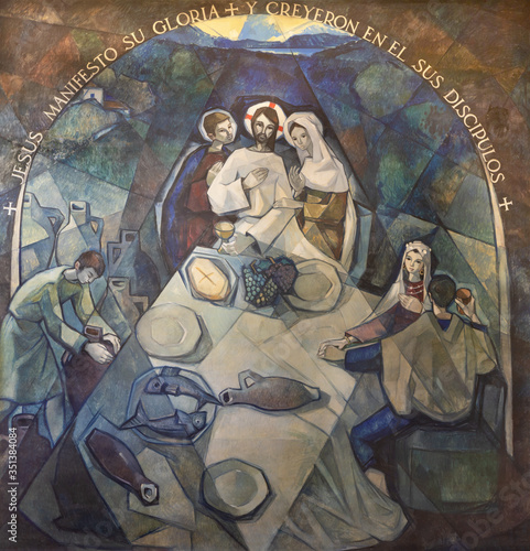 Wallpaper Mural BARCELONA, SPAIN - MARCH 5, 2020: The modern fresco The miracle at the wedding at Cana in church Santuario Maria Auxiliadora i Sant Josep by Fidel Trias Pages and Raimon Roca (1966)