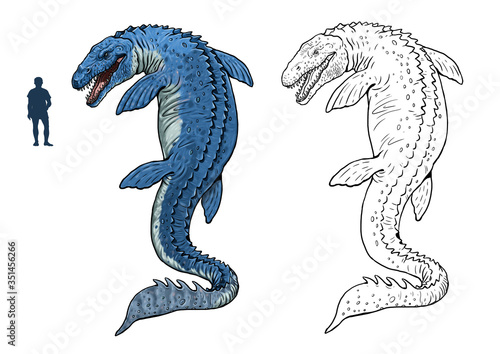 Mosasaurus compared to human фототапет