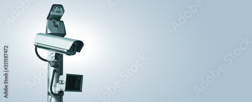 Fotografia CCTV Surveillance camera. Perimeter security. Copy space