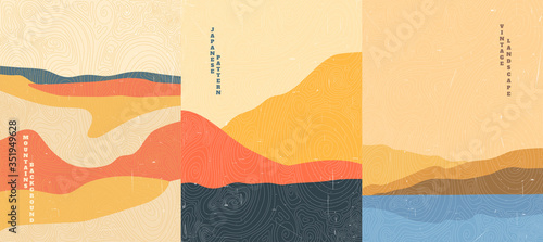 Vector illustration landscape. Wood surface texture. Japanese wave pattern. Mountain background. Asian style. Sunset scene. Sea backdrop. Design for poster, book cover, web template, brochure.