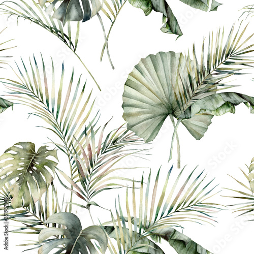 Watercolor tropical seamless pattern with monstera, banana and coconut leaves. Hand painted palm leaves isolated on white background. Floral illustration for design, print or background.