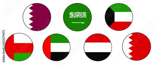 Fotografija GCC Gulf Country Middle East Flag Icon set on isolated white background