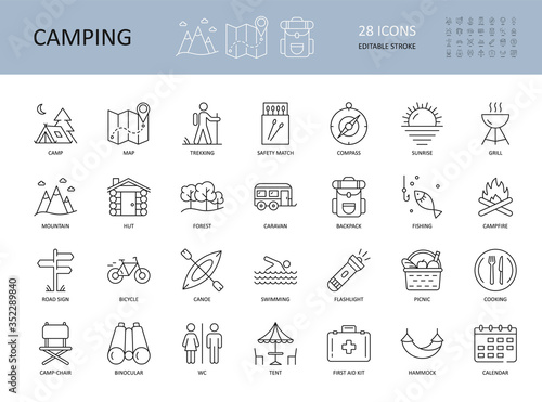 Photographie Vector camping icons