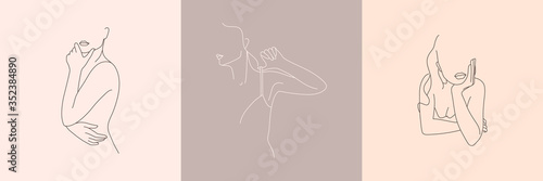 Canvas Set of Abstract minimalistic female figure in underwear