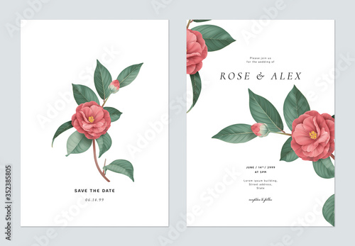 Fotomural Floral wedding invitation card template design, red Semi-double Camellia flowers