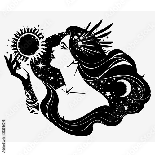 Fototapeta image of the esoteric goddess of the night; contour, without filling