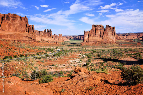 Fotomural View over Arches National Park, with the Three Gossips and Organ rock formations