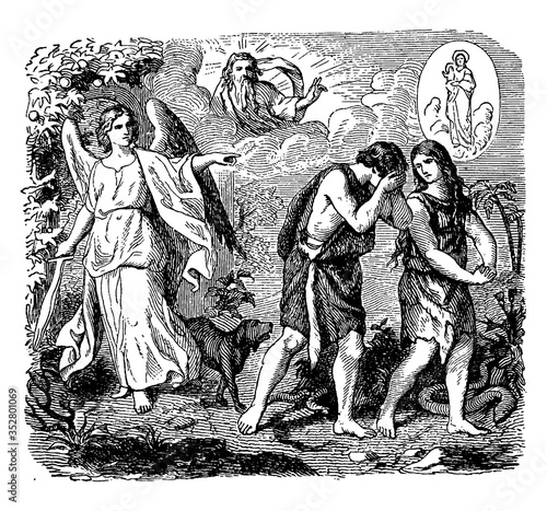 Fototapeta Expulsion from the Garden of Eden, vintage illustration