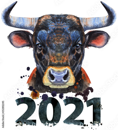 Watercolor illustration of a black powerful bull with number 2021
