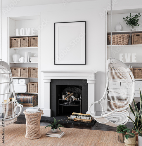 Carta da parati Mockup poster in cozy white living room interior background, 3d render