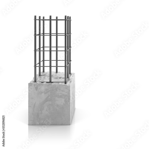 Carta da parati Rebar steel in reinforced concrete block on white background.