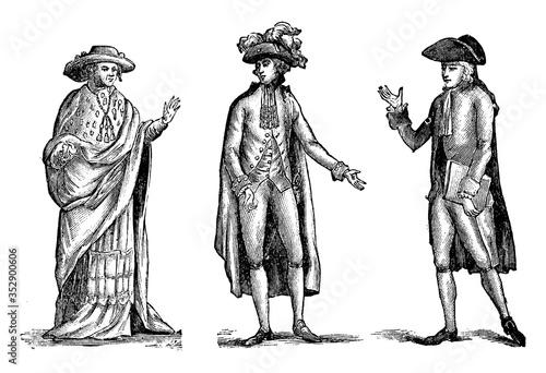 Fotografie, Obraz Costumes of the Orders, vintage illustration.