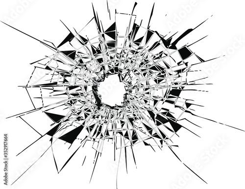 Canvas Print Broken glass, cracks, bullet marks on glass