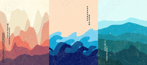 Vector illustration landscape. Wood surface texture. Hills, seascape, mountains. Japanese wave pattern. Mountain background. Asian style. Design for poster, book cover, web template, brochure.