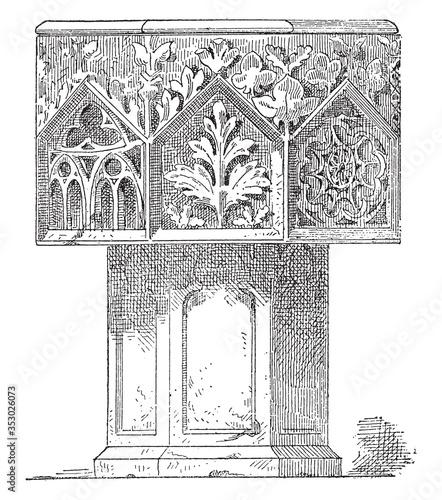 Slika na platnu Baptismal font cathedral of Langres (XIII century), vintage illustration