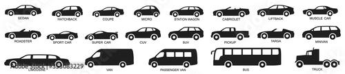 Car types set. Vector illustration