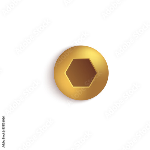 Fotografia Isolated gold metal screw head with button hexagon socket on domed round cap