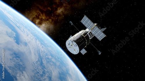 Fotografia, Obraz Hubble telescope in orbit of the Earth, Hubble Space Telescope 3d render