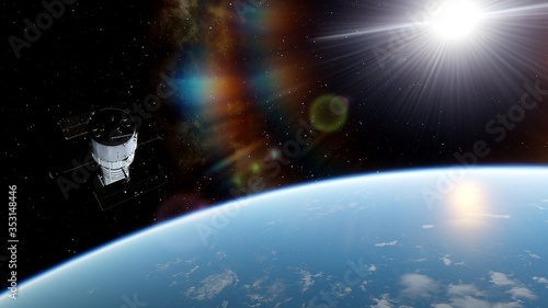 Obraz na plátne Hubble telescope in orbit of the Earth, Hubble Space Telescope 3d render