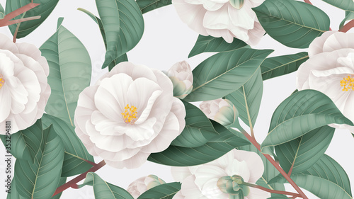 Fotografia Floral seamless pattern, white Semi-double Camellia flowers with leaves on brigh
