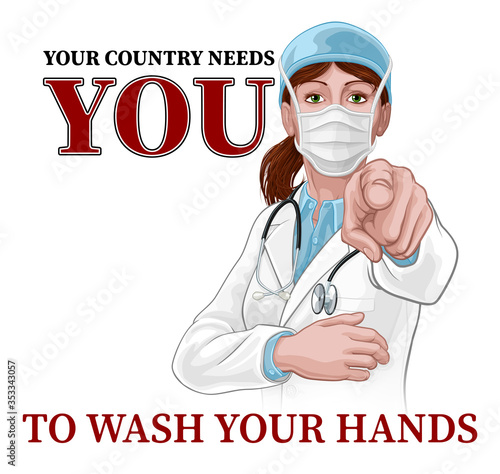 Wallpaper Mural A woman doctor pointing in a your country needs or wants you gesture