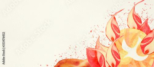 Pentecost. Christian banner, watercolor