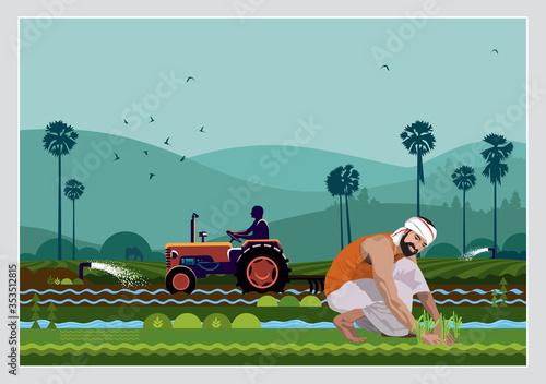 Fotografie, Obraz Illustration Of Indian Agriculture