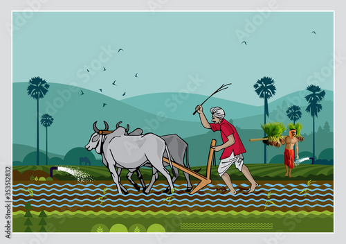 Canvas Print Illustration Of Indian Agriculture