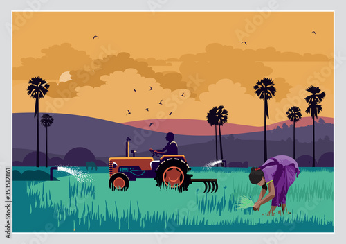 Wallpaper Mural Illustration Of Indian Agriculture