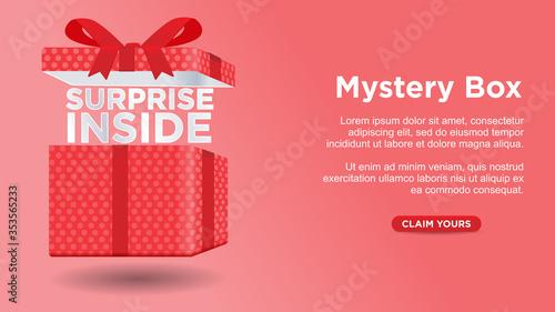 Fotografia mystery box surprise inside custom web page concept vector illustration