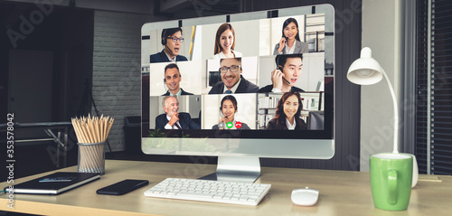 Foto Video call business people meeting on virtual workplace or remote office
