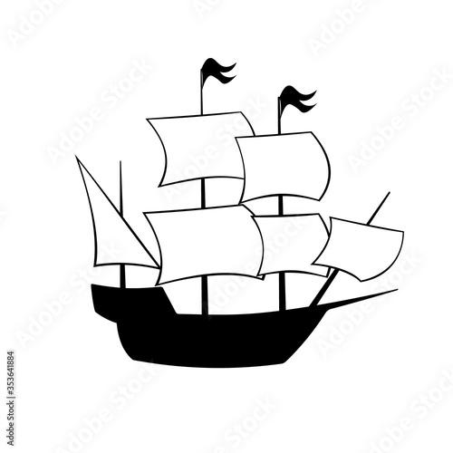 Cuadros en Lienzo Mayflower ship silhouette icon