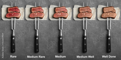 Delicious sliced beef tenderloins with different degrees of doneness on grey background, top view Tapéta, Fotótapéta