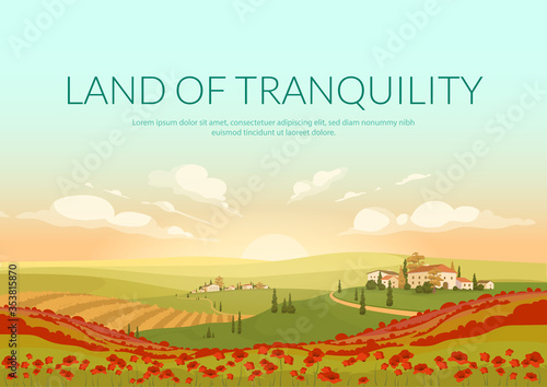 Fototapeta Land of tranquillity poster flat vector template