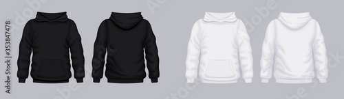 White black hoodie front back mockup. Fashionable template sweatshirt casual clothes with hood cotton vector textile unisex set for sports walking.