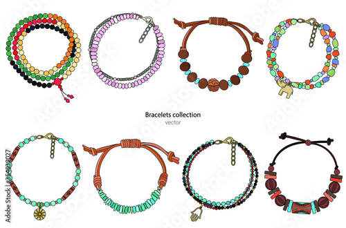 Cuadros en Lienzo Collection of handmade bracelets in ethnic style