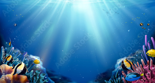 Photo Coral reefs and fish background