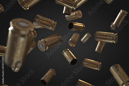 Fotografiet Photorealistic 3D illustration of Flying bullet shells on a black background