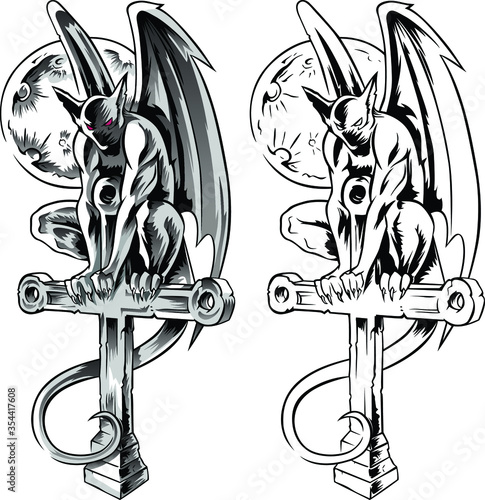 Canvastavla Chimera gargoyle sitting on a cross, hand-drawn vector illustration with gothic guards, demon in tatto style
